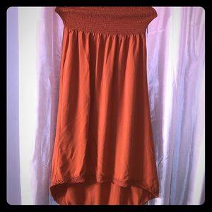 💗💗Strapless orange high low dress